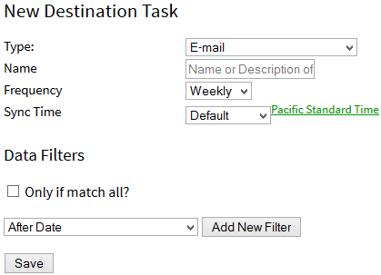 Adding an E-mail Destination Task